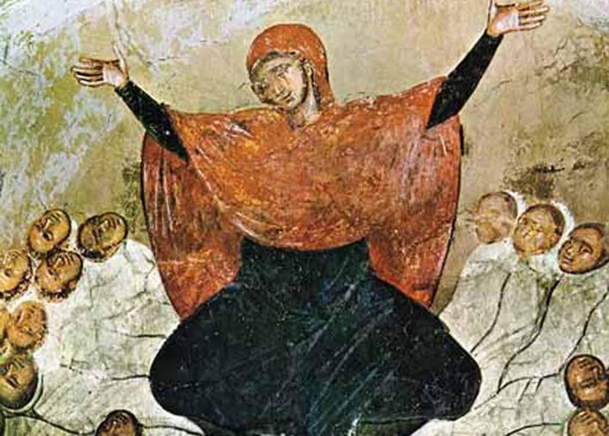 Raquel chora polos seus fillos. Fresco do século XIV (Mosteiro de Marko - Macedonia)
