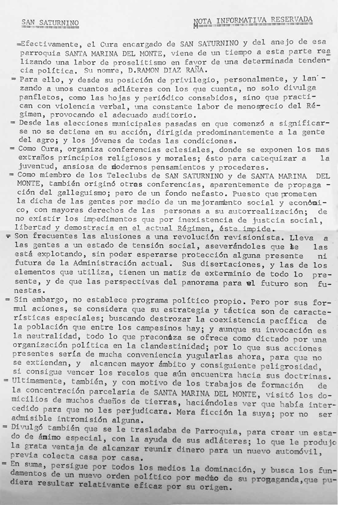 Nota informativa do alcalde Secada ao gobernador sobre as actividades e menosprecio al Régimen de Ramón Díaz Raña